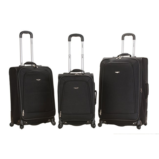 Rockland Deluxe Black Heavy-duty Three-piece Spinner Luggage Set
