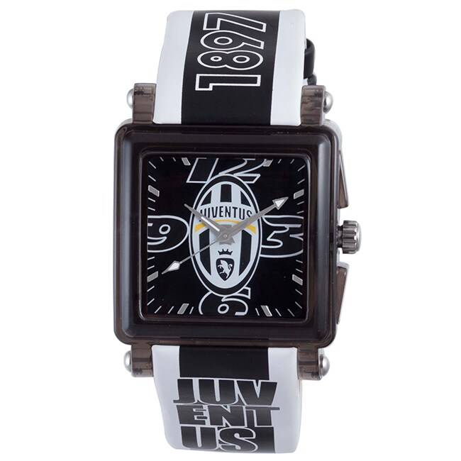 Juventus Men's Black Dial Leather Watch with Buckle Clasp