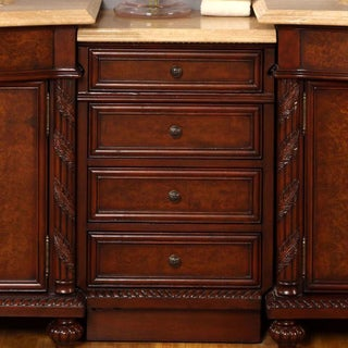 Silkroad Exclusive Travertine and Red Mahogany Bathroom Vanity Side Cabinet Drawer Bank