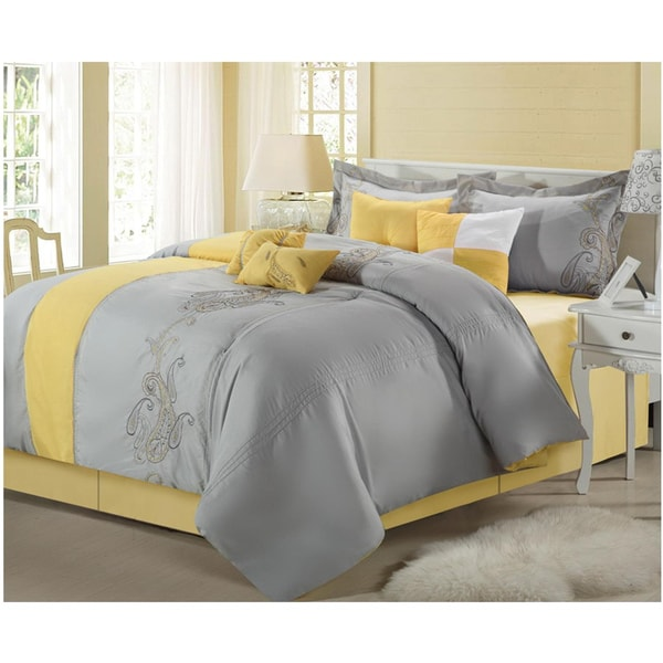 shop ann harbor yellow grey 12 piece bed in a bag with sheet set free shipping today. Black Bedroom Furniture Sets. Home Design Ideas