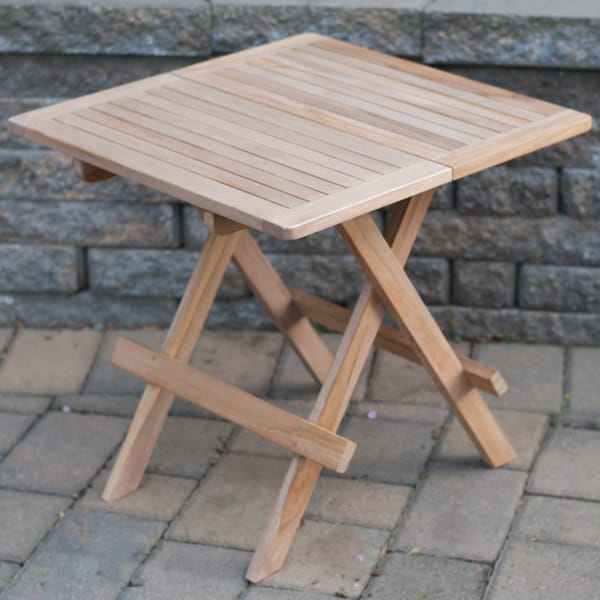 Solid Teak 19-inch Rectangular Outdoor Folding Table