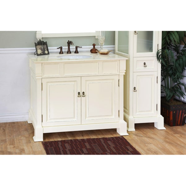 olivia 42inch cream white wood bathroom vanity