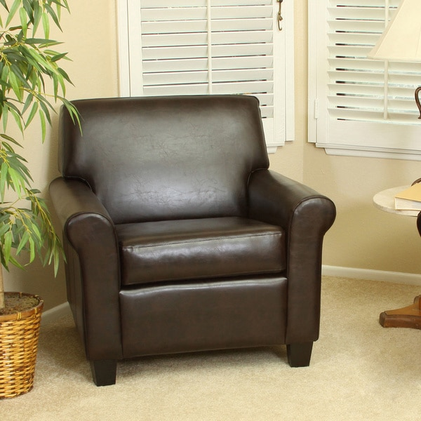 Yonkers chocolate brown bonded leather club chair by for Home goods in yonkers