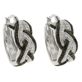 Finesque Diamond Accent Braided Hoop Earrings with Red Bow Gift Box