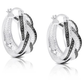 Finesque Diamond Accent Braided Hoop Earrings with Red Bow Gift Box (3 options available)
