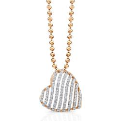 Victoria Kay 14k Rose Gold 1/2ct TDW Striped Heart Diamond Necklace (IJ, I1-I2)