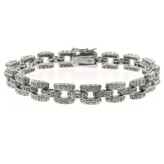 Finesque Silverplated Diamond Accent Panther Bracelet