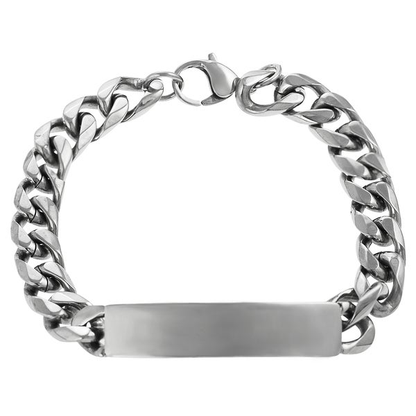 Vance Co. Men's Stainless Steel Curb Chain ID Bracelet