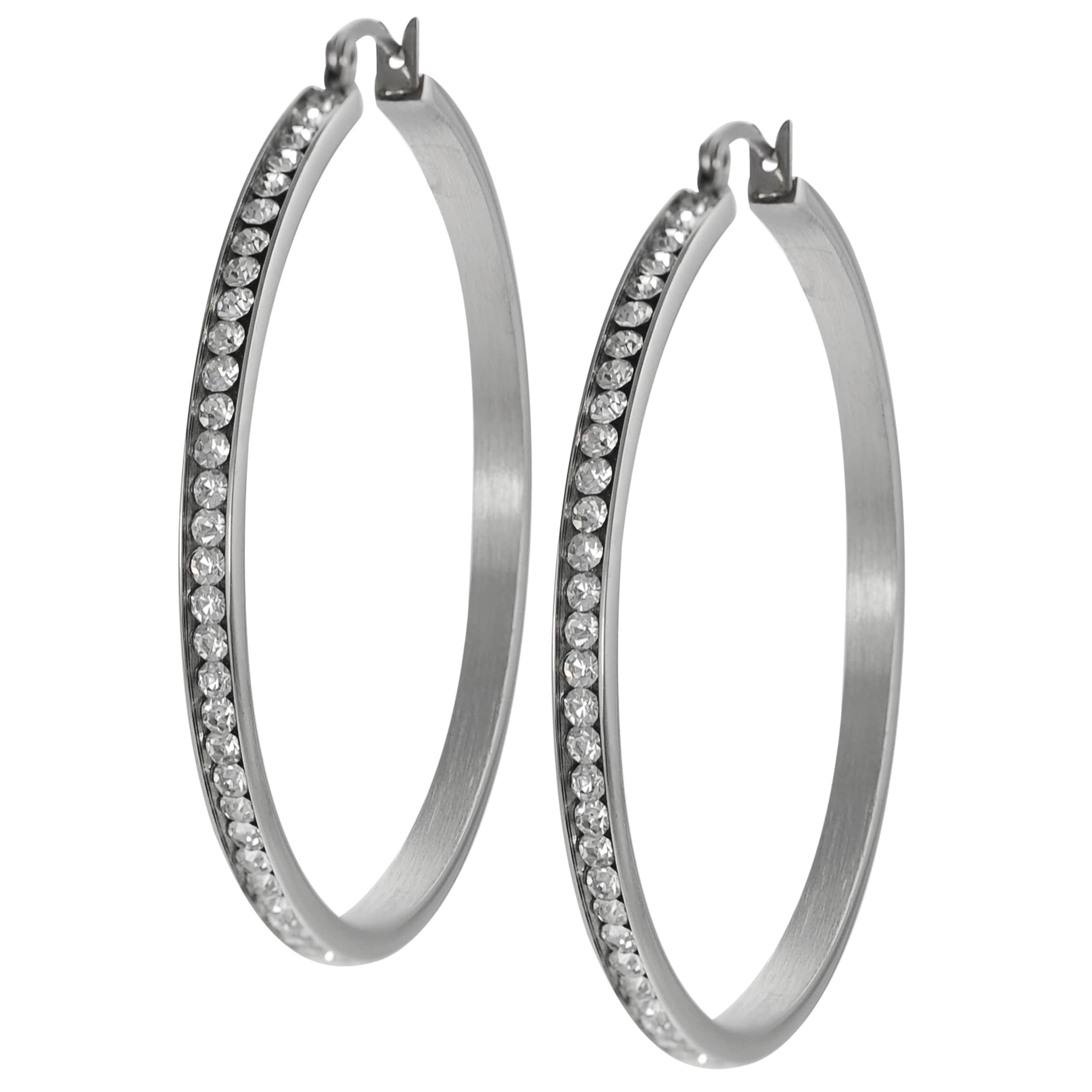 Journee Collection Stainless Steel Cubic Zirconia 50-mm Hoop Earrings