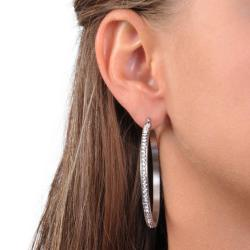 Journee Collection Stainless Steel Cubic Zirconia 50-mm Hoop Earrings - Thumbnail 2
