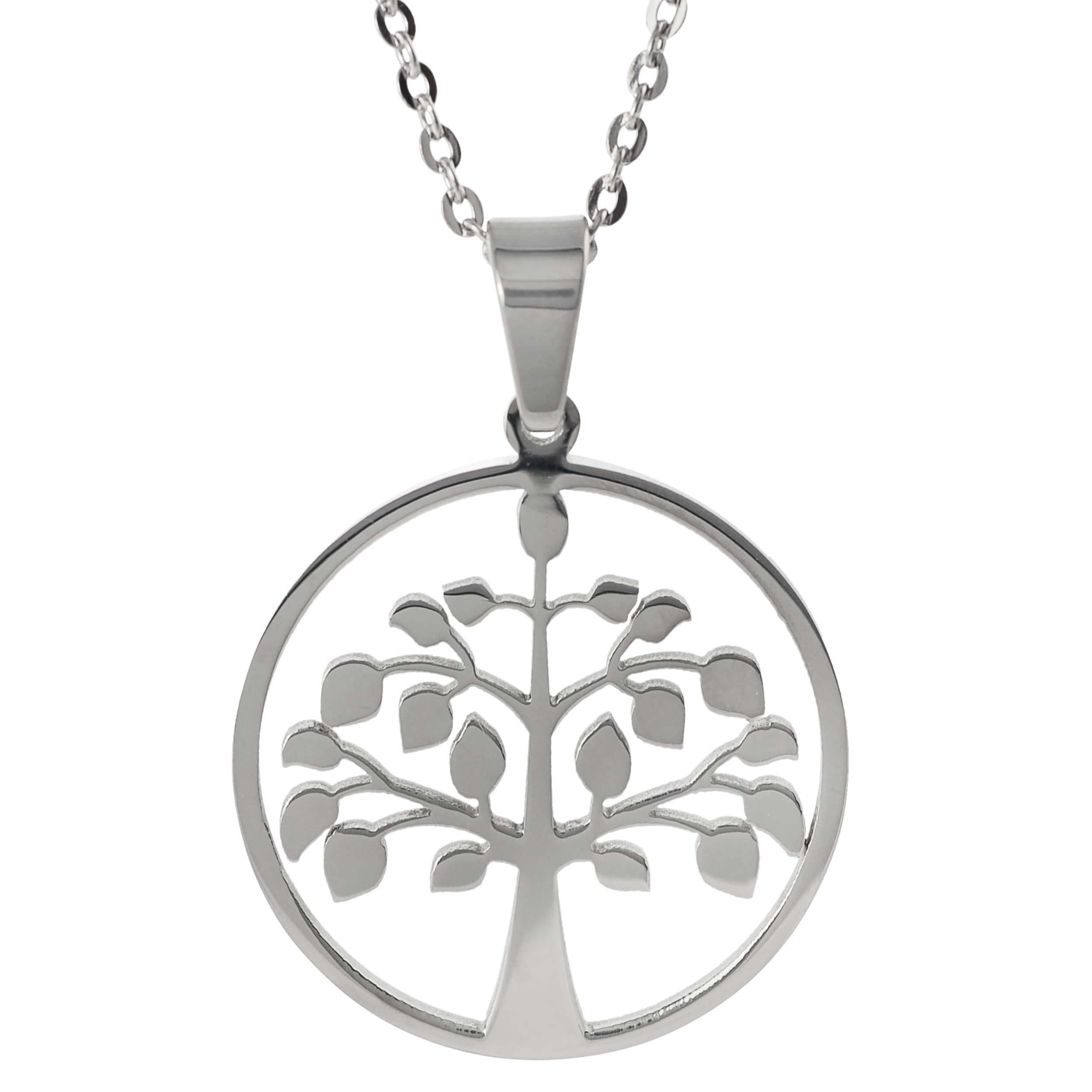 Journee Collection Stainless Steel Tree of Life Necklace