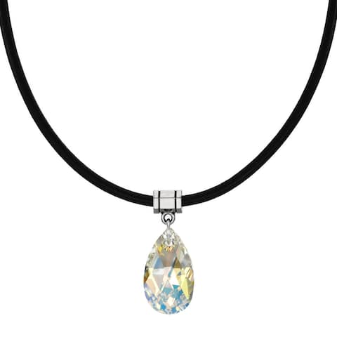 Handmade Jewelry by Dawn Crystal Aurora Borealis Pear Leather Necklace (USA)