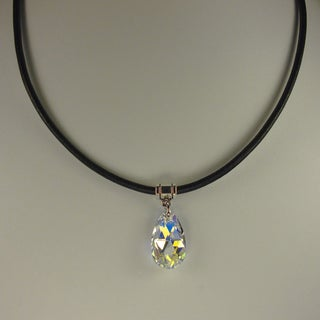 Handmade Jewelry by Dawn Crystal Aurora Borealis Pear Greek Leather Necklace (USA)