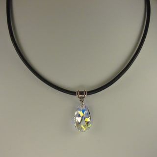 Jewelry by Dawn Crystal Aurora Borealis Pear Greek Leather Necklace (Option: 18 Inch)