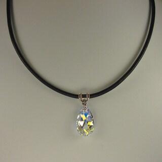 Jewelry by Dawn Crystal Aurora Borealis Pear Greek Leather Necklace https://ak1.ostkcdn.com/images/products/7018541/Jewelry-by-Dawn-Crystal-Aurora-Borealis-Pear-Greek-Leather-Necklace-P14524819.jpg?_ostk_perf_=percv&impolicy=medium