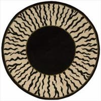 Nourison Hand-tufted Dimensions Black Rug Round - 5'9 x 5'9