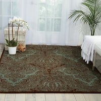 Joseph Abboud Majestic Teal Chocolate Area Rug by Nourison - 2'3 x 8'