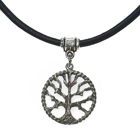Handmade Jewelry by Dawn Tree Of Life Leather Necklace (USA)