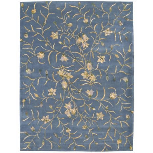 Nourison Hand-tufted Julian Floral Light Blue Wool Rug - 8' x 11'