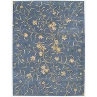 Nourison Hand-tufted Julian Floral Light Blue Wool Rug - 8' x 11'
