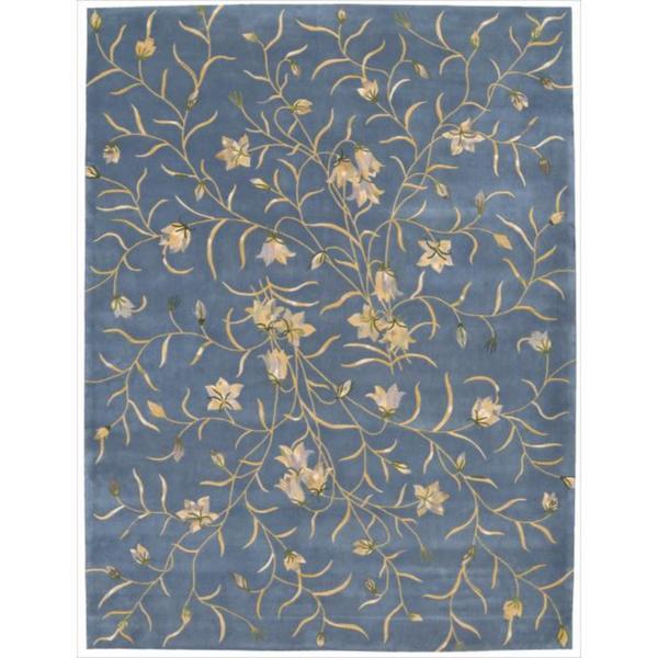 Nourison Hand-tufted Julian Floral Light Blue Wool Rug (7'6 x 9'6) - 7'6 x 9'6