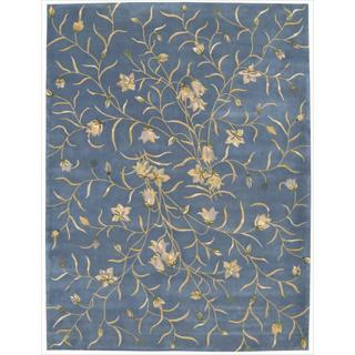 Nourison Hand-tufted Julian Floral Light Blue Wool Rug (7'6 x 9'6)