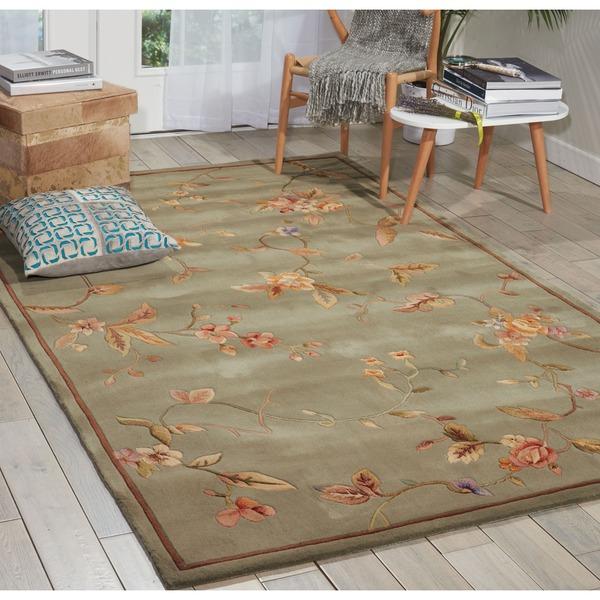 Shop Nourison Hand-tufted Julian Aqua Wool Rug (7'6 X 9'6