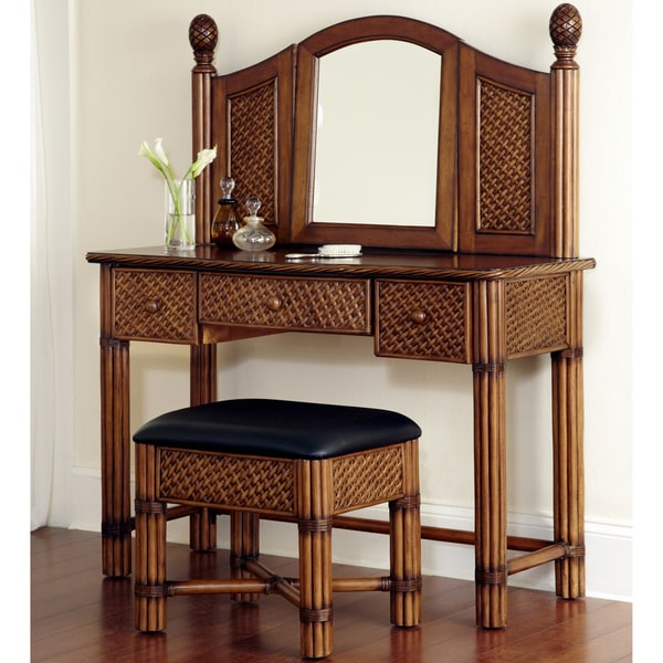 Home Styles Marco Island Refined Cinnamon Vanity and Bench