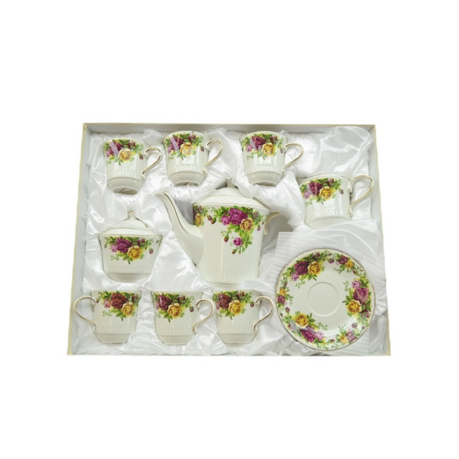 Fabulous Three Star 15-piece Rose Decorative Tea Set - Thumbnail 0