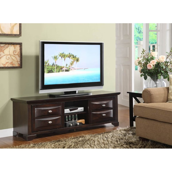 K&B Dark Cherry Finish TV Stand with Adjustable Shelf