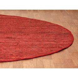 Hand Woven Matador Copper Leather Rug (6 x 6 Round) - Thumbnail 1