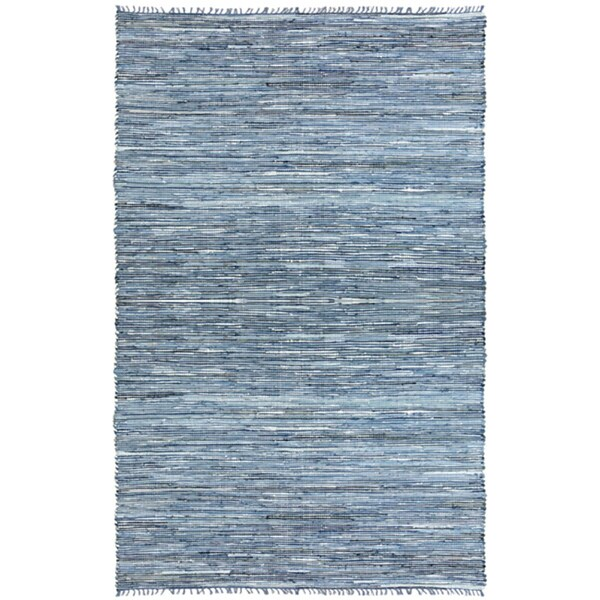 Hand Woven Matador Denim and Leather Rug (5 x 8) - 5' x 8'