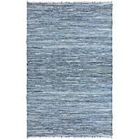 Hand Woven Matador Denim and Leather Rug (5 x 8)