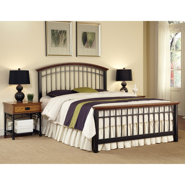 Modern Craftsman King-size Bed and Two End Tables Set by Home Styles