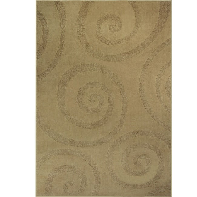 Somette Illusions Woven Swival Manadaly Beige Rug (8' x 11')