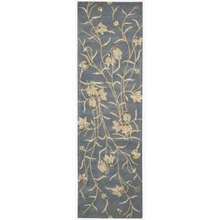 Nourison Hand-tufted Julian Floral Light Blue Wool Rug (2'3 x 8')