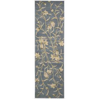 Nourison Hand-tufted Julian Floral Light Blue Wool Rug - 2'3 x 8'