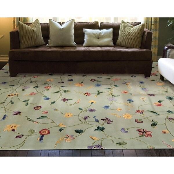 Nourison Hand-tufted Julian Light Green Wool Rug - 5'3 x 8'3
