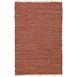 Hand-woven Matador Red Leather and Hemp Rug (4' x 6')