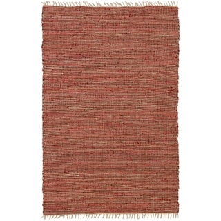 Hand-woven Matador Red Leather and Hemp Rug (4' x 6')