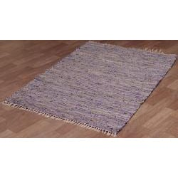 Hand-woven Matador Purple Leather and Hemp Rug (4' x 6') - Thumbnail 1
