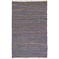 Hand-woven Matador Purple Leather and Hemp Rug (4' x 6')