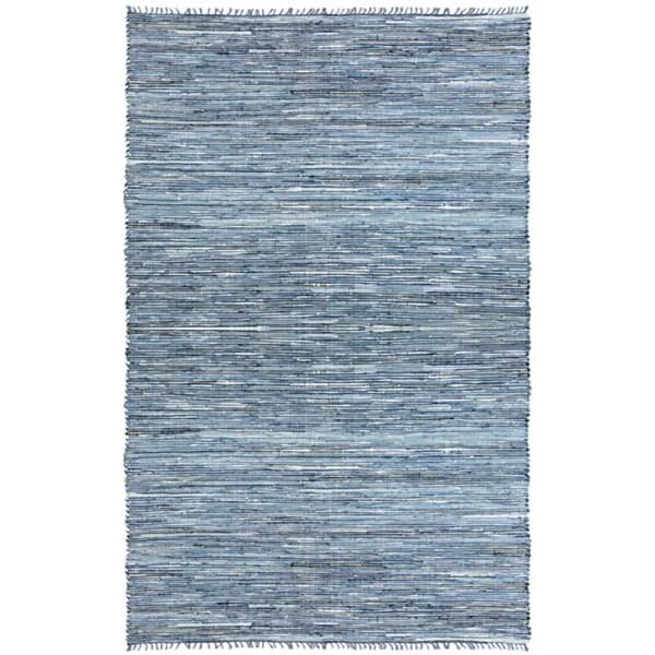 Hand-woven Matador Denim and Leather Rug (4' x 6') - 4' x 6'