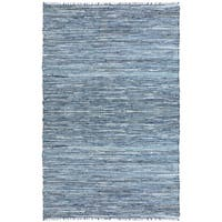 Hand-woven Matador Denim and Leather Rug (4' x 6') - 4' x 6'