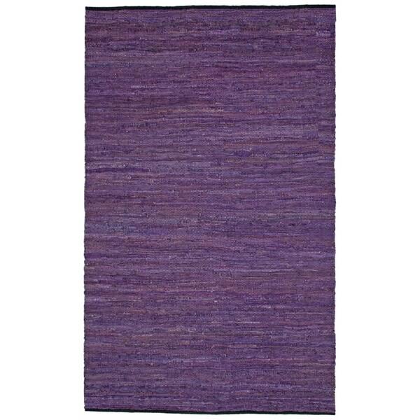 Hand-woven Matador Purple Leather and Cotton Rug - 9' x 12'