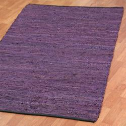 Hand-woven Matador Purple Leather and Cotton Rug (9' x 12') - Thumbnail 1