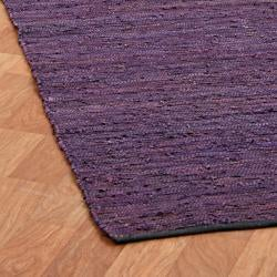 Hand-woven Matador Purple Leather and Cotton Rug (9' x 12') - Thumbnail 2