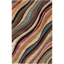 Hand Tufted Collie Mushroom Wavy Stripe Wool Rug (2' x 3')