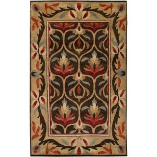 Hand-knotted Multi Colored Floral Lyon New Zealand Wool Rug (2' x 3')