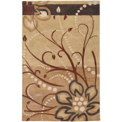 Hand-tufted Troulon Beige Floral Wool Rug (2' x 3')